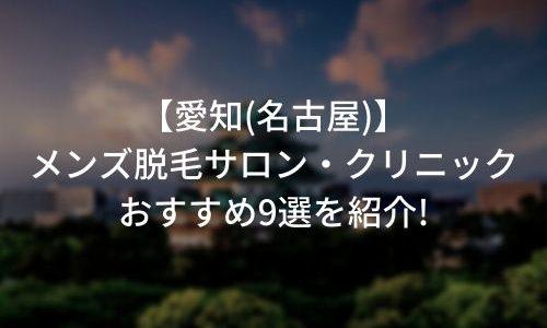 愛知(名古屋)のメンズ脱毛サロン・クリニックおすすめ9選を紹介!